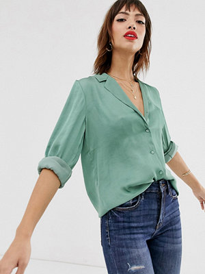 Warehouse Grön skjorta i satäng Pistagegrön