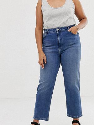 ASOS Curve Farleigh Mörkt stentvättade straight jeans med hög midja Mörkt stenfärgad