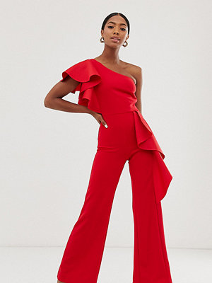 True Violet Röd enaxlad exklusiv jumpsuit med peplum