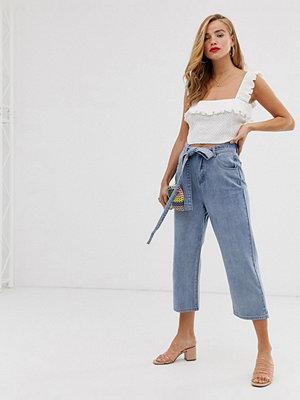 Jeans - In The Style X Laura Jade Blå ankellånga jeans med knytning i midjan