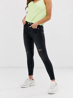 River Island Hailey Svarttvättade saddle jeans Tvättad svart