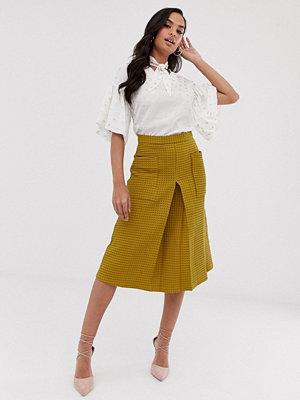 Closet London Closet Plisserad kjol med fickor Mustard senapsgul