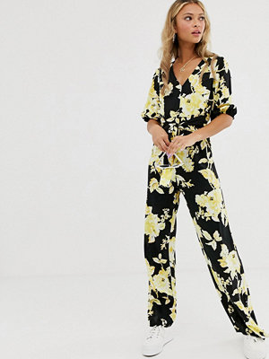 Jumpsuits & playsuits - Miss Selfridge Blommig jumpsuit med knut framtill