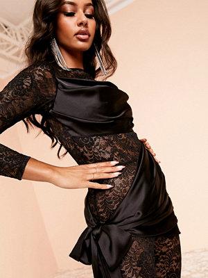 ASOS DESIGN Luxe Svart draperad catsuit med spets
