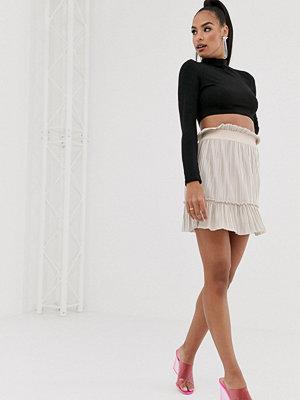 TFNC Rosa plisserad minikjol med hög midja Écru