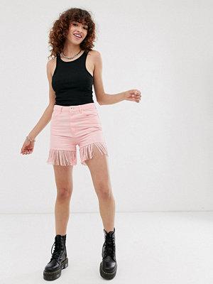See You Never Shorts med fransar Pastellrosa