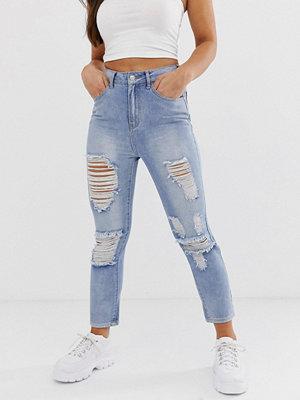 Boohoo Blå jeans med raka ben