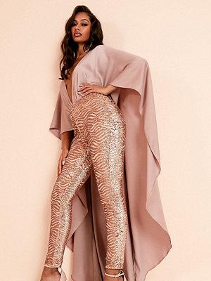 ASOS DESIGN Luxe Jumpsuit med capedetalj och roséguldfärgade paljetter Rosé guld