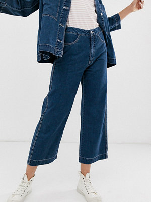 Weekday Djupblå ankellånga jeans med vida ben Dream blue