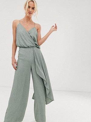 ASOS Edition Utsmyckad jumpsuit med drapering och smala axelband Dimblå