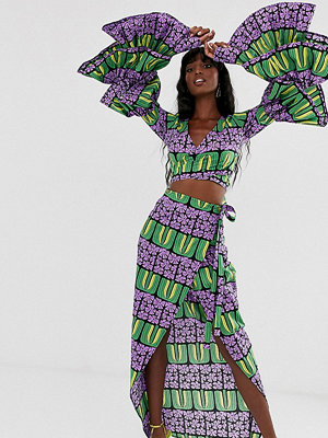 Taller Than Your Average TTYA Flerfärgad geometriskt mönstrad midikjol med omlott
