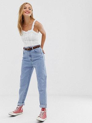 Pull&Bear Blå mom jeans med elastisk midja