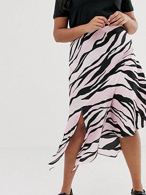River Island Plus Rosa midikjol med zebramönster Rosa mönster
