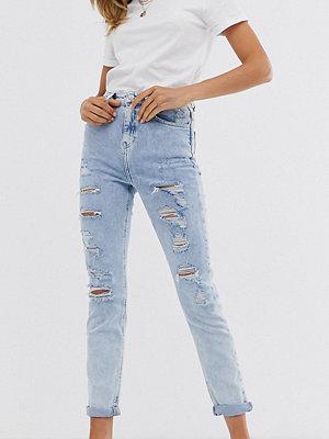 Jeans - New Look Ljusblå skinny jeans med revor Ljusblå