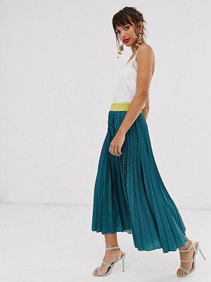 Closet London Closet Blågrön randig kjol med plissering Teal stripe
