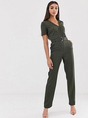 Morgan Khakigrön jumpsuit med omlott och skärp Kakifärgad