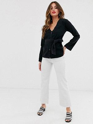 ASOS DESIGN Svart jeansskjorta med skärp