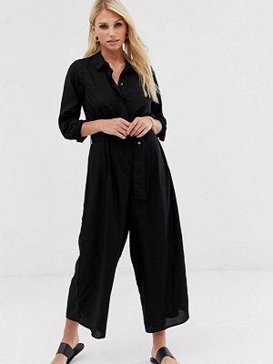 ASOS DESIGN Jumpsuit i skjortmodell med skärp och culotte-byxor