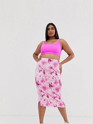 New Girl Order Curve Batikfärgad bodyconkjol i midimodell Pink tie-dye