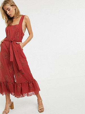Stevie May Gracia Jumpsuit med volangfåll Western red