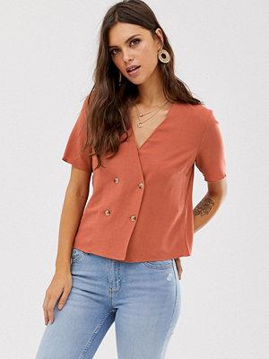 Warehouse Rostfärgad dubbelknäppt skjorta