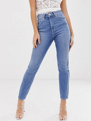 ASOS DESIGN Mellanblå fasta skinny jeans med extra hög midja Mellanblå