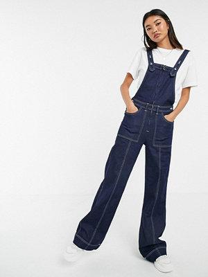 Pepe Jeans Dixie Utsvängda hängselbyxor i denim i arbetarstil 000 indigo