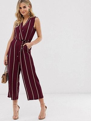 Ax Paris Randig jumpsuit i culotte-modell Plommonlila