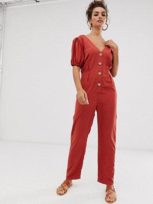 ASOS DESIGN Jumpsuit i tea-längd med knappar fram och puffärm Kanel