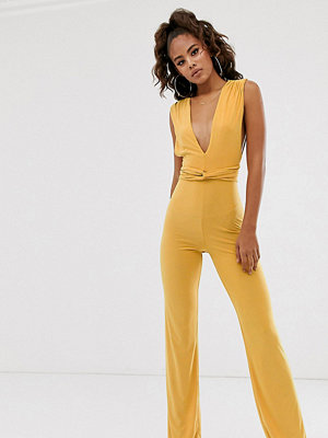 Club L London Tall Gul mjuk jumpsuit med djup urringning framtill