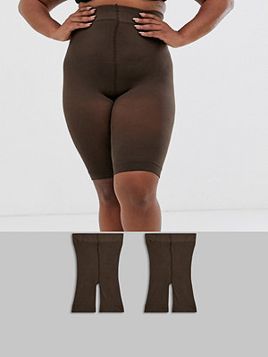 ASOS Curve 2-pack umbrafärgade shorts med anti-skav Umbra