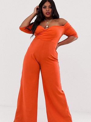 Club L London Plus Orange jumpsuit med vida ben och singoallaringning