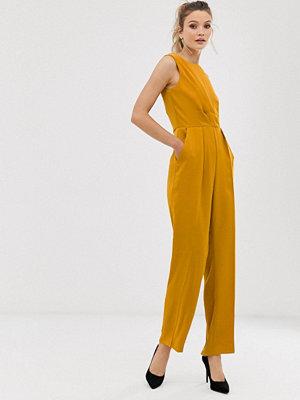 Closet London Closet Jumpsuit med plisserat liv Mustard senapsgul