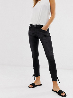 One Teaspoon Freebirds Ankellånga skinny jeans med snörning nedtill Black paris