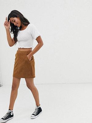 Vero Moda Minikjol i mockaimitation Guldbrun