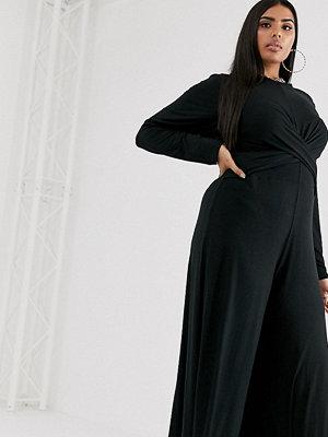 PrettyLittleThing Plus Svart culotte-jumpsuit med snurrad knut framtill