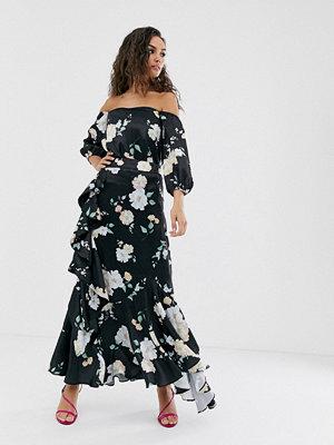 We Are Kindred Clover Blommig off shoulder-topp Black camellia
