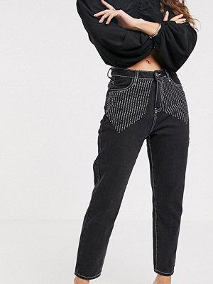 Liquor N Poker Mom jeans med strassfrans