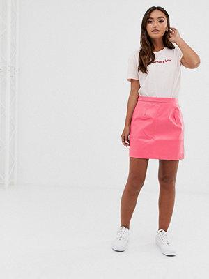 Glamorous Rosa a-linjeformad kjol i läderimitation Matt pink