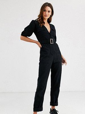Asos Tall Jumpsuit av denim med skärp och bananben Tvättad svart