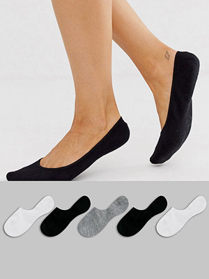 ASOS DESIGN Dolda strumpor i 5-pack Svart/vit/grå