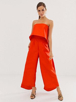 ASOS Edition Bandeau-jumpsuit med dubbla lager Röd