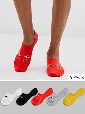 Monki Flerfärgade sneakerstrumpor i 5-pack