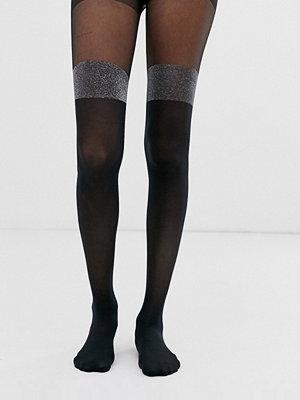 ASOS DESIGN Metallic-färgade lårhöga tights