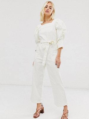 ASOS White Jumpsuit i denim med rak halsringning och vida ärmar
