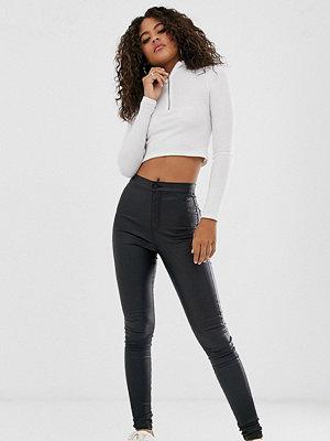 Noisy May Tall Svarta skinny jeans med beläggning