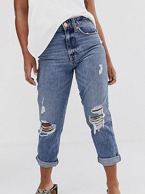River Island Petite Stormi Mom jeans i mellanmörk tvätt Mid auth