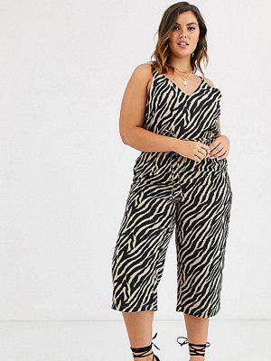AX Paris Plus Jumpsuit med safari och zebramönster Zebra