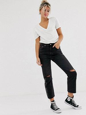 Levi's 501 Ankellånga jeans med slitna knän Black canyon