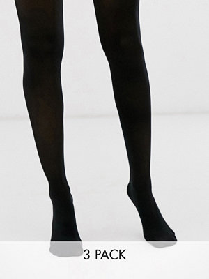 New Look Svarta tights i 3-pack med 40 denier